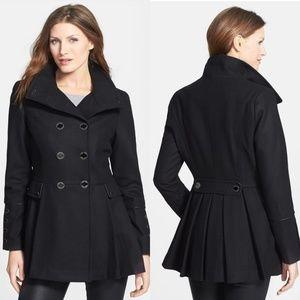 Calvin Klein black wool peplum pea coat